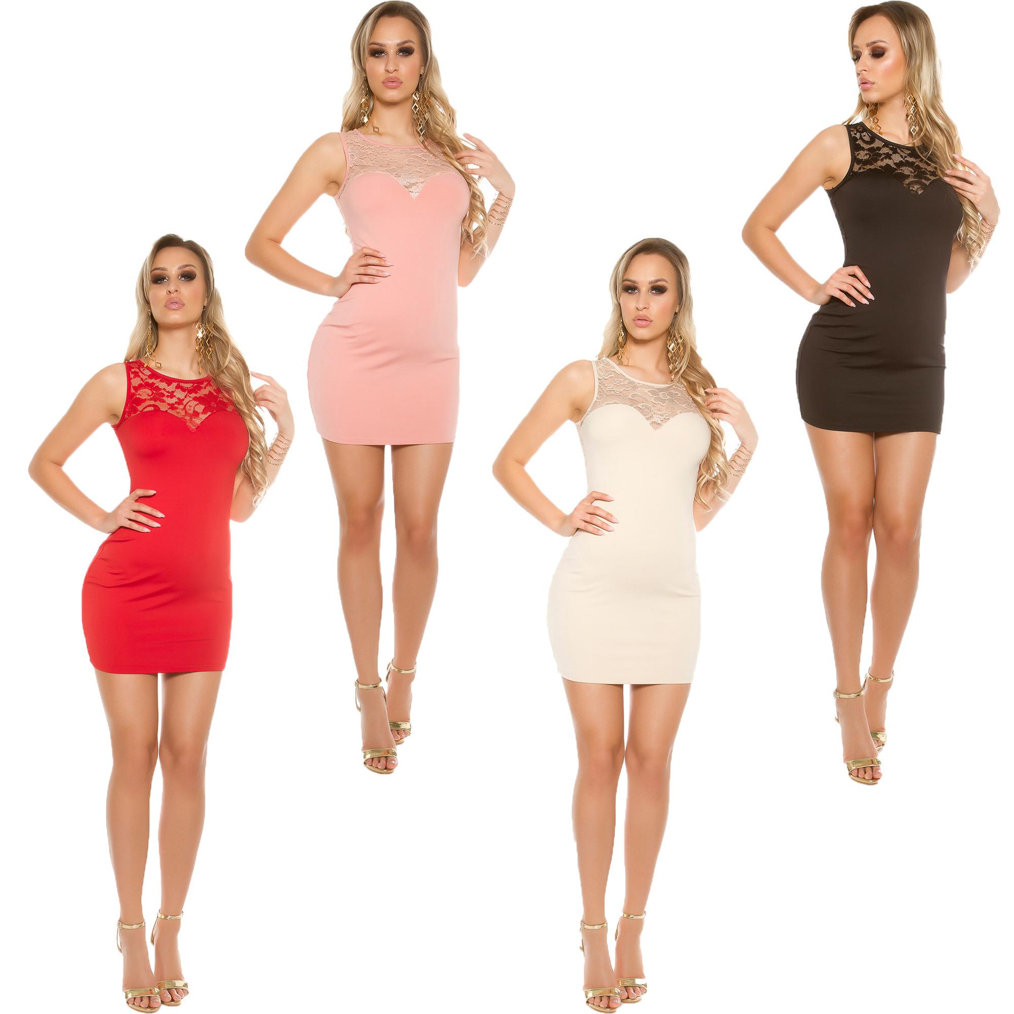 Details Zu Jersey Mini Kleid Minikleid Spitze Partykleid Fest Hochzeit  Abiball Eng S 34 36