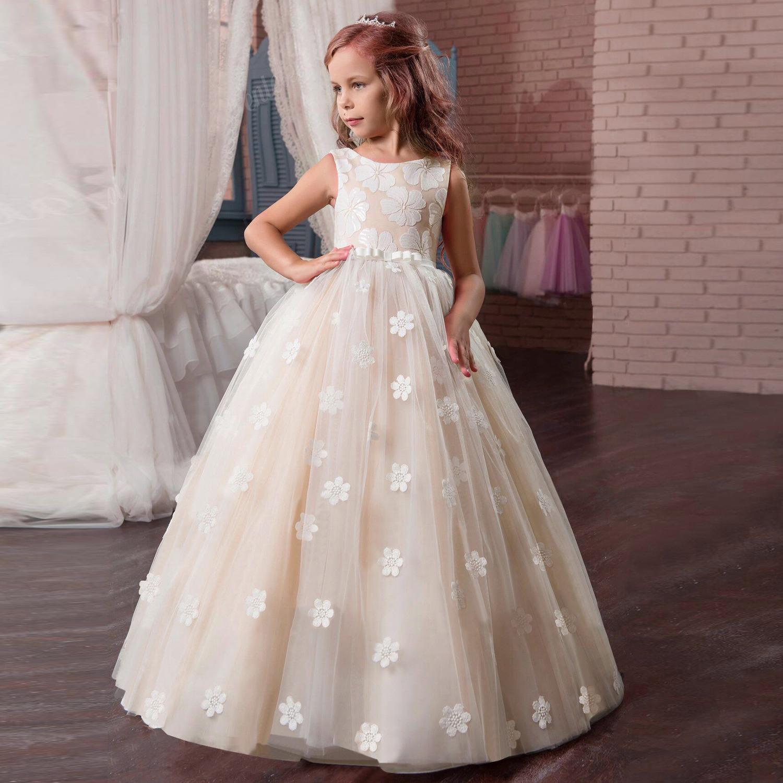Details Zu Kinder Mädchen Prinzessin Kleid Hochzeit Abendkleid  Kommunionkleid Ballkleider