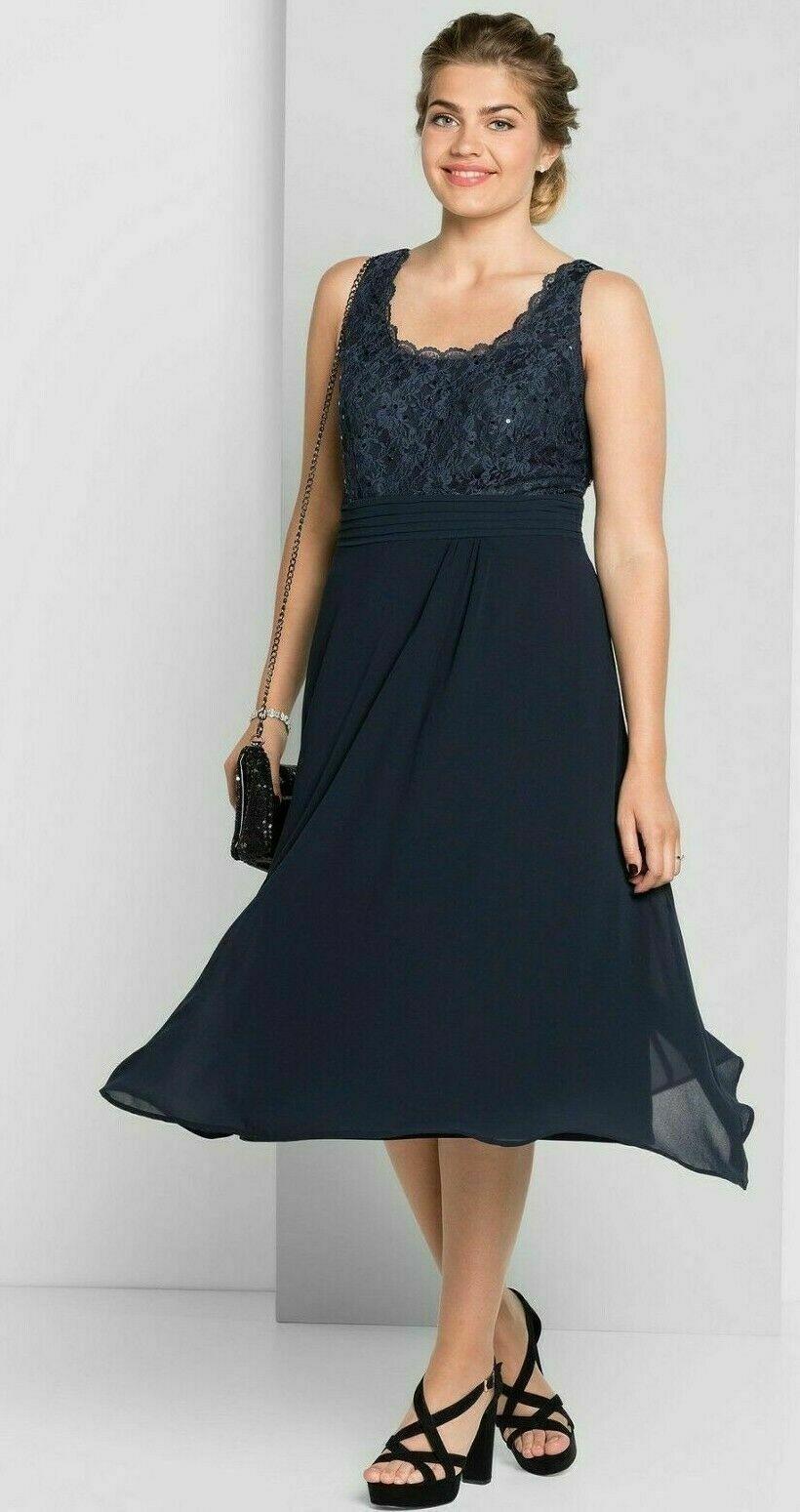 Details Zu Sheego Abendkleid Gr.52+54 Damen Blau Spitze ...