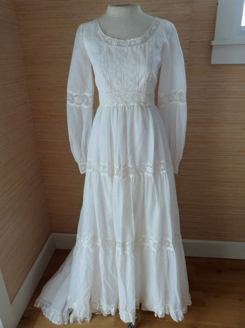Details Zu Vtg 70's Wedding Dress Boho Hippie Prairie Cotton Lace Xs/xxs  Free Lace Hat