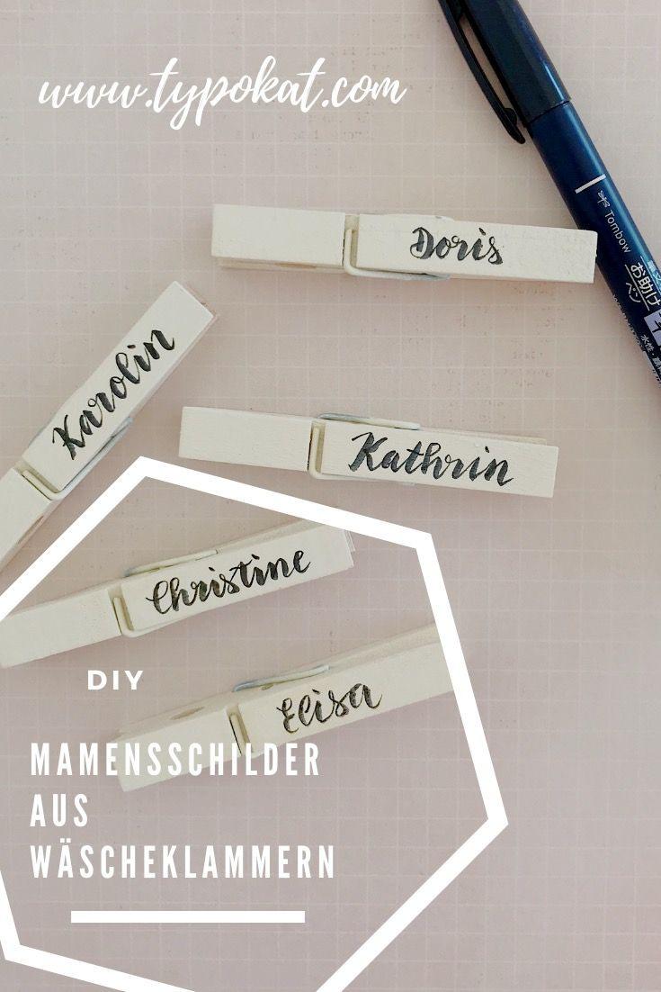 Diy – Namensschilder Aus Wäscheklammern | Namensschilder