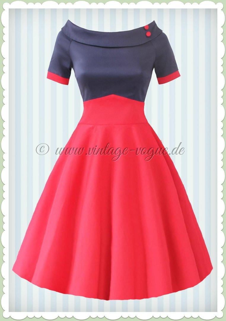 Dolly & Dotty 50Er Jahre Rockabilly Petticoat Kleid - Darlene - Navy Rot