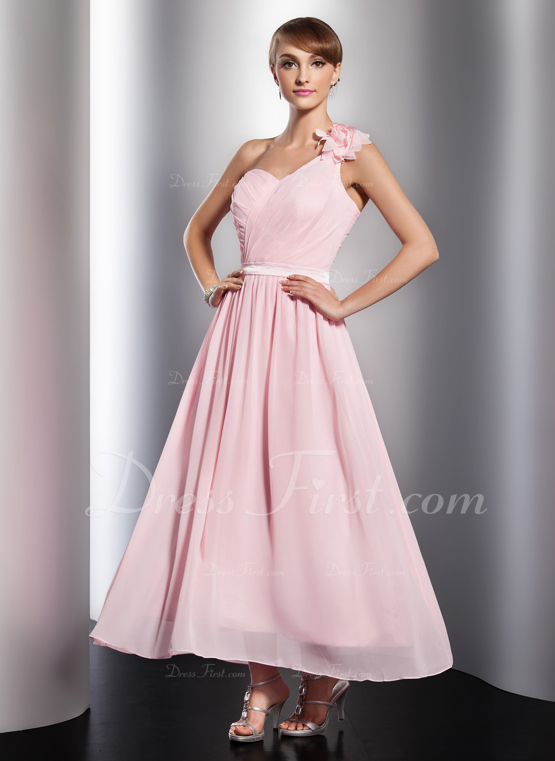 [€ 142.03] A-Linie/princess-Linie One-Shoulder-Träger Knöchellang Chiffon  Festliche Kleid Mit Rüschen Blumen - Jjshouse