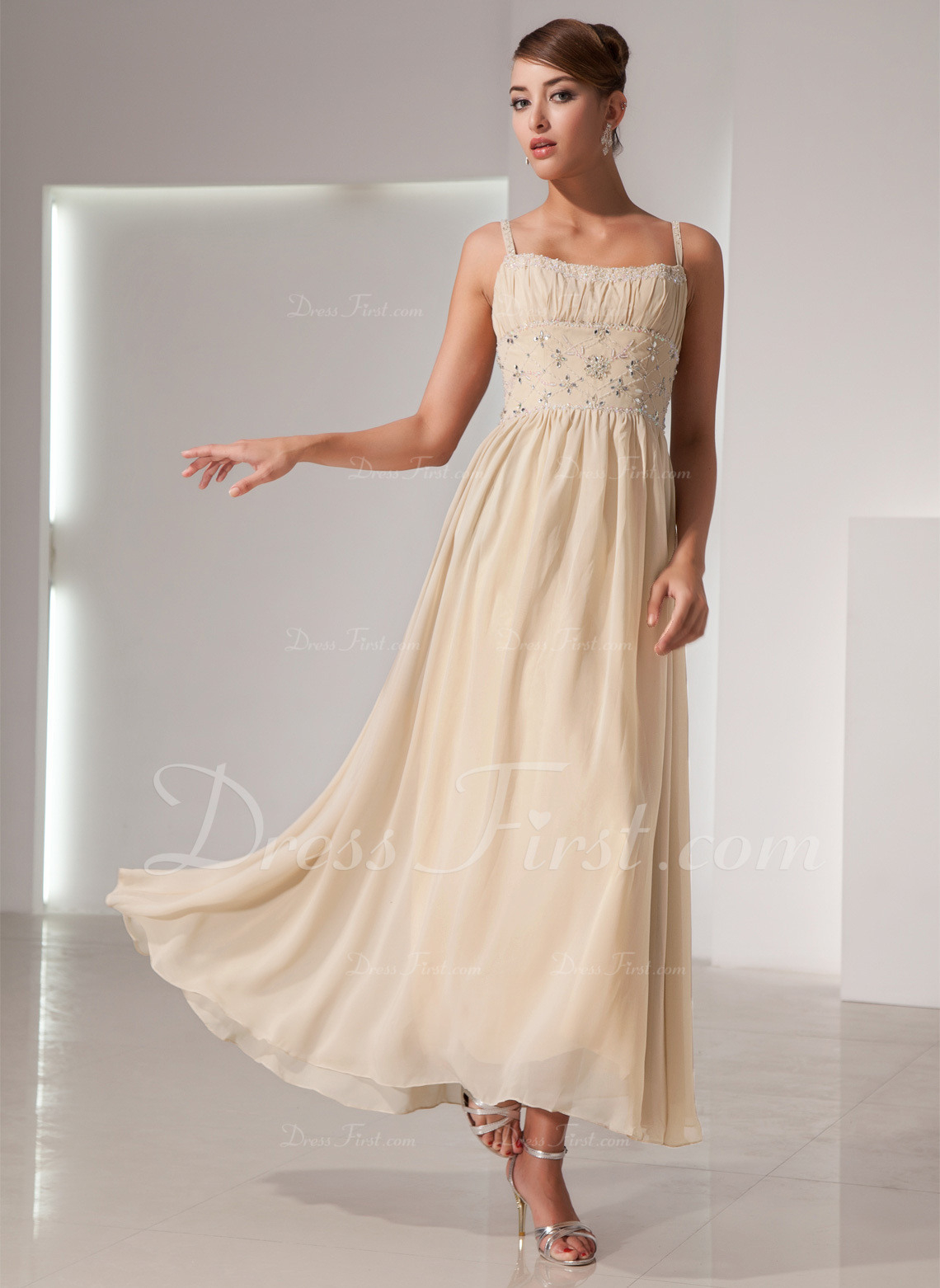 [€ 149.66] A-Linie/princess-Linie U-Ausschnitt Knöchellang Chiffon  Festliche Kleid Mit Rüschen Perlen Verziert - Jjshouse