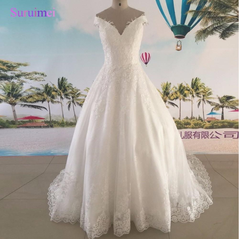 Echt Bild Maß Vintage Hochzeit Kleid 2017 Elfenbein Farbe