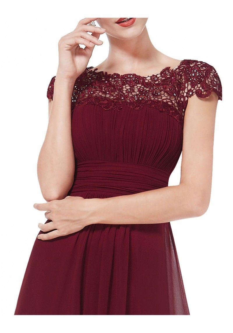 Edles Langes Spitze Abendkleid In Bordeaux Rot - Bei - Abendkleid