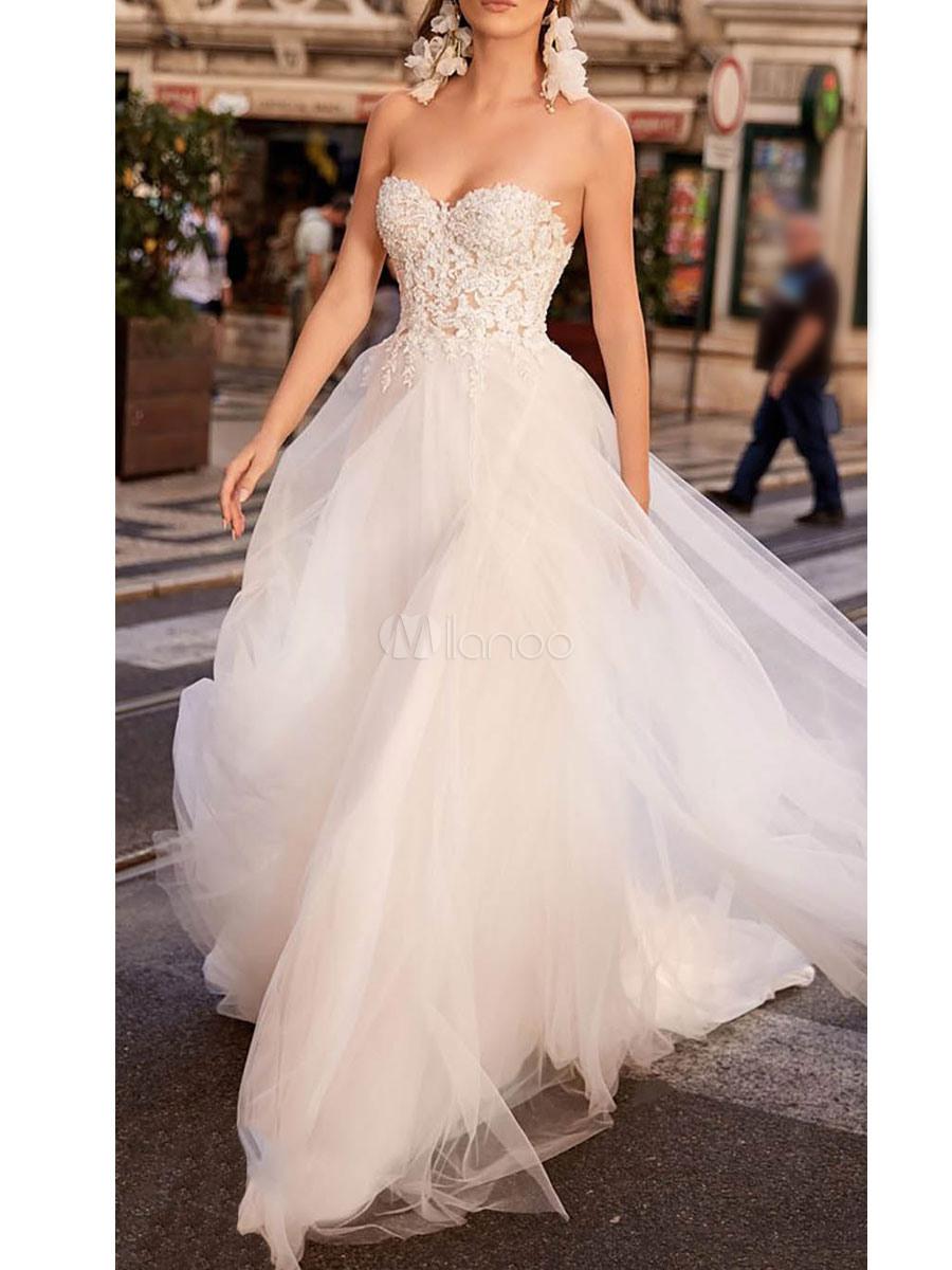 Einfache Hochzeitskleid Tüll Herzförmiger Ausschnitt Ärmellos Eine Linie  Spitze Flora Brautkleider Mit Zug