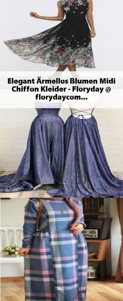 Elegant Armellos Blumen Midi Chiffon Kleider Floryday Abendkleid