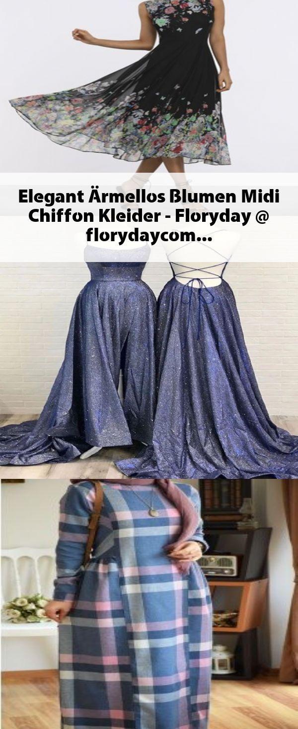 Elegant Ärmellos Blumen Midi Chiffon Kleider - Floryday