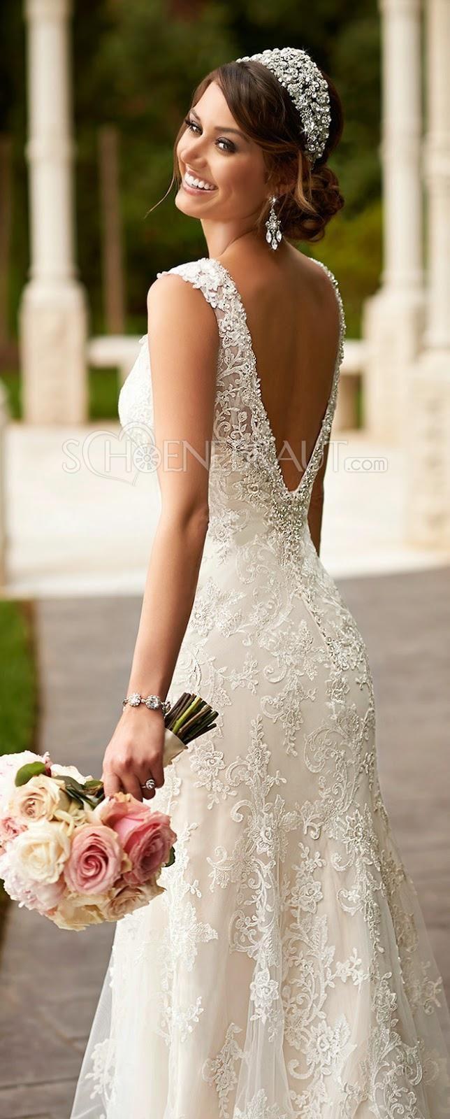 Elegant Spitze Brautkleid Lace Empire Hochzeitskleid Lang