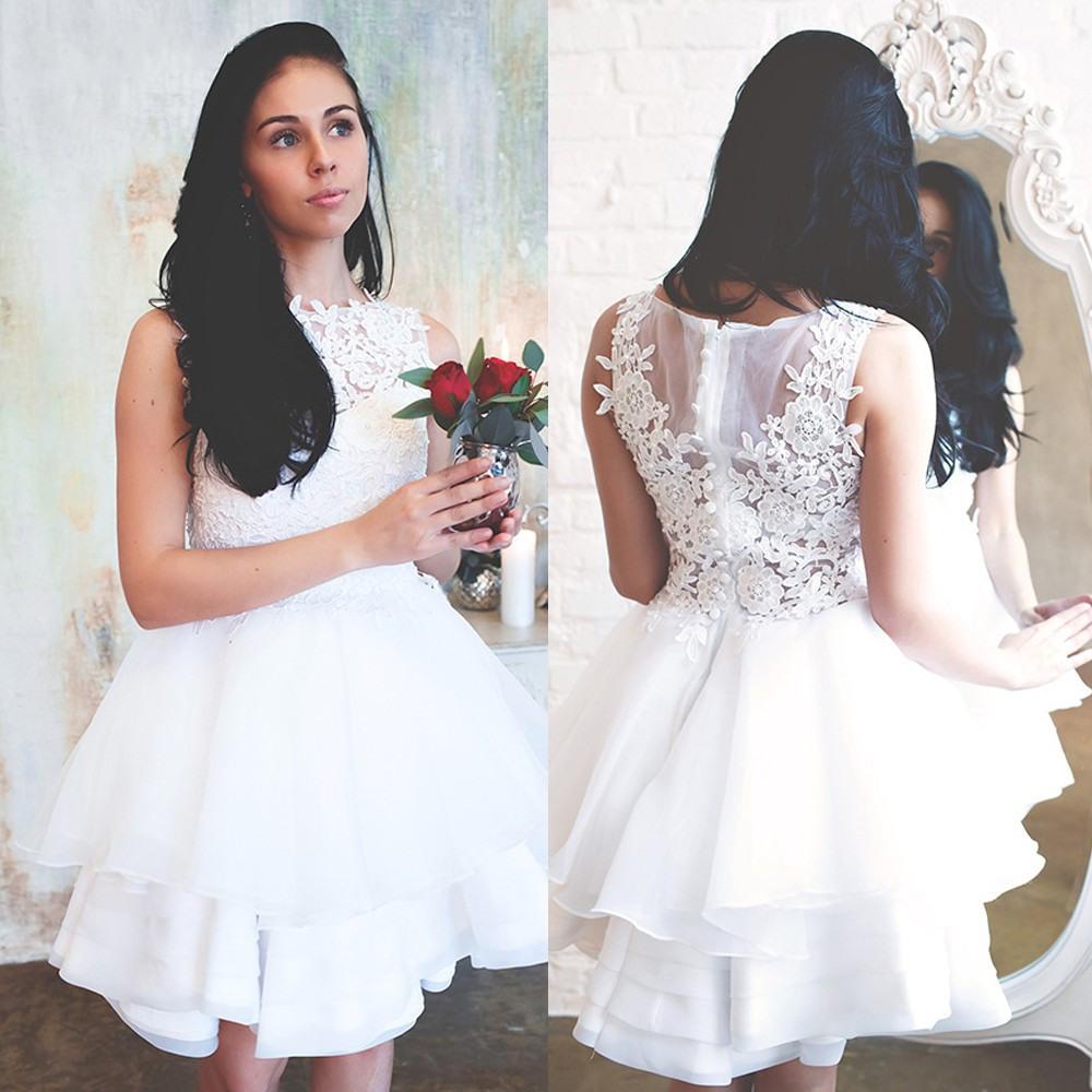 Elegant White Lace Brautkleider Juwel Hals Spitze Appliques Summer Civil  Hippie Brautkleider Knielangen Organza Rüschen Brautkleider