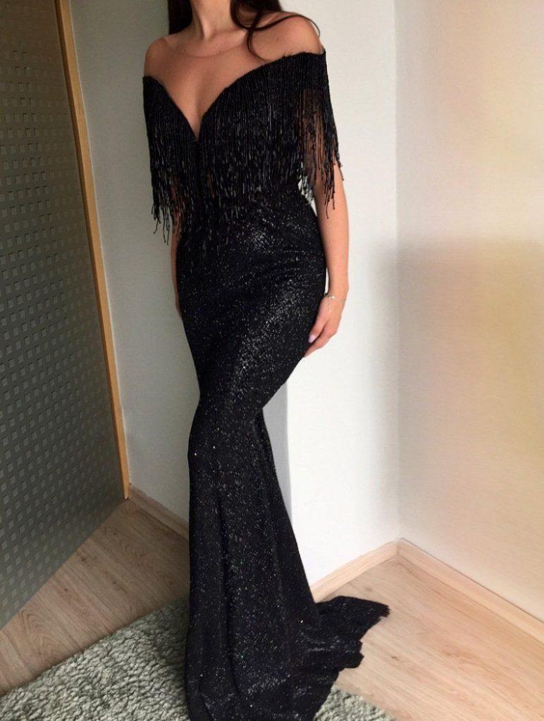 Elegante Abendkleider Schwarz Lang  Abiballkleider Günstig