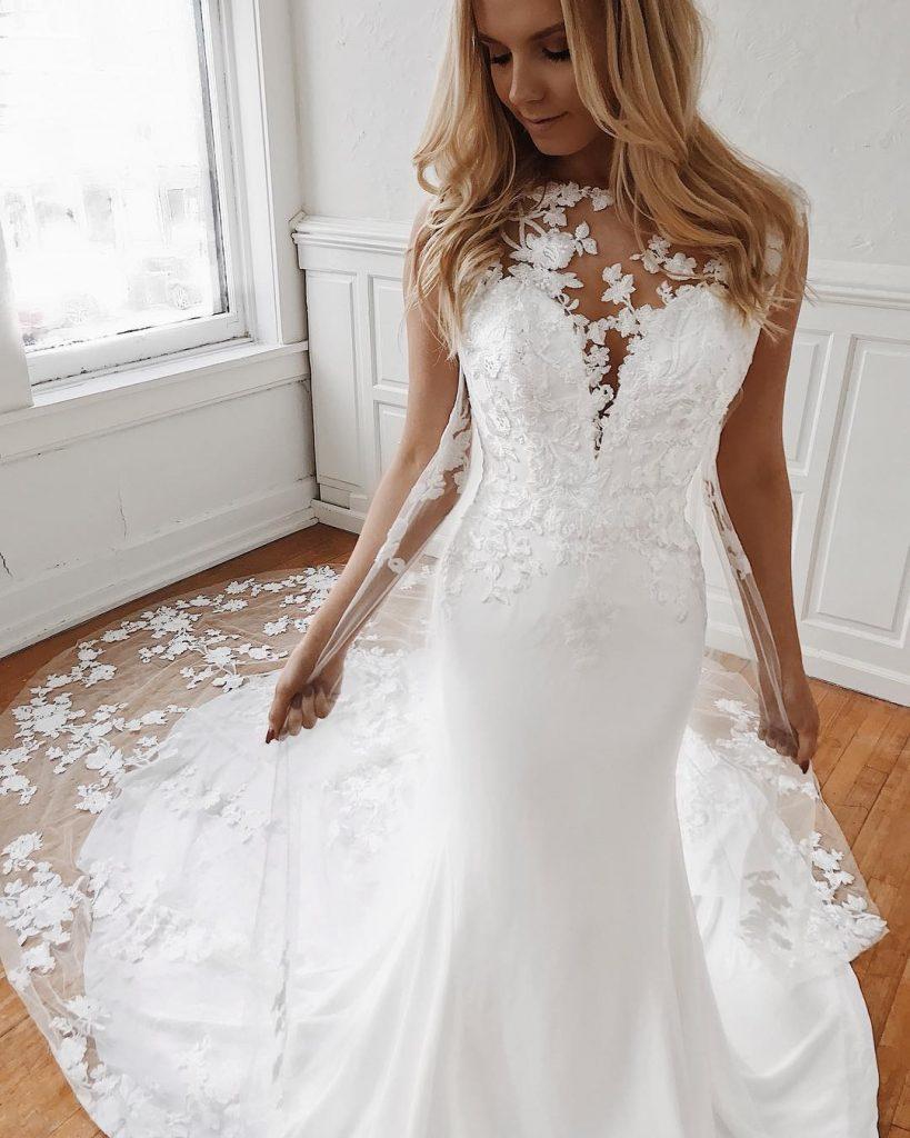 Elegante Brautkleider Mit Spitze  Hochzeitskleid - Abendkleid