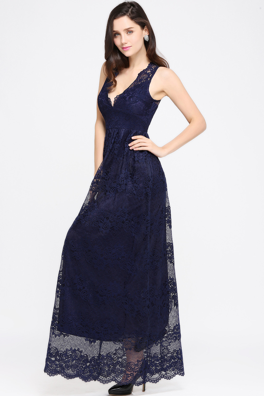 Elegante Navy Blau Brautjungfernkleider Lang Günstig