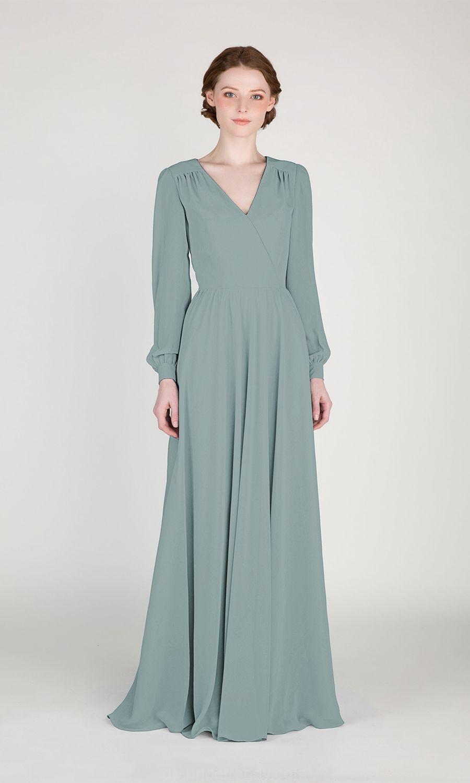Eleganten Langen Ärmeln Brautjungfer Kleid Tbqp415 | Pakaian
