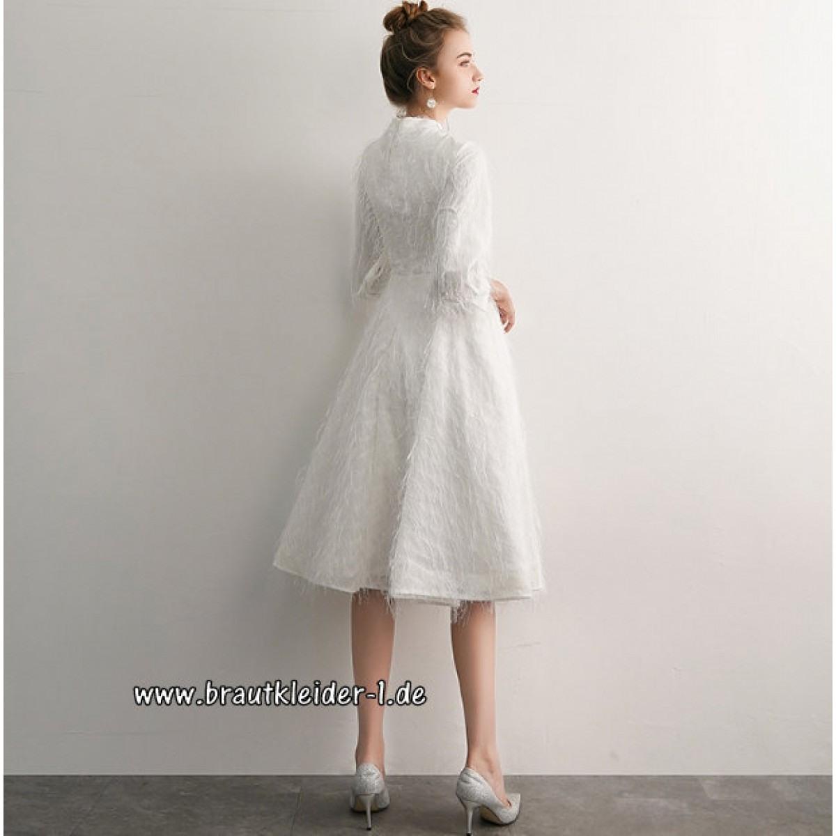 Elegantes A Linie Midi Standesamt Kleid Brautkleid Mit Ärmel