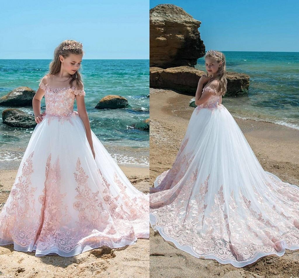 Elfenbein Rosa Tüll Blumenmädchen Kleid Online Großhandel