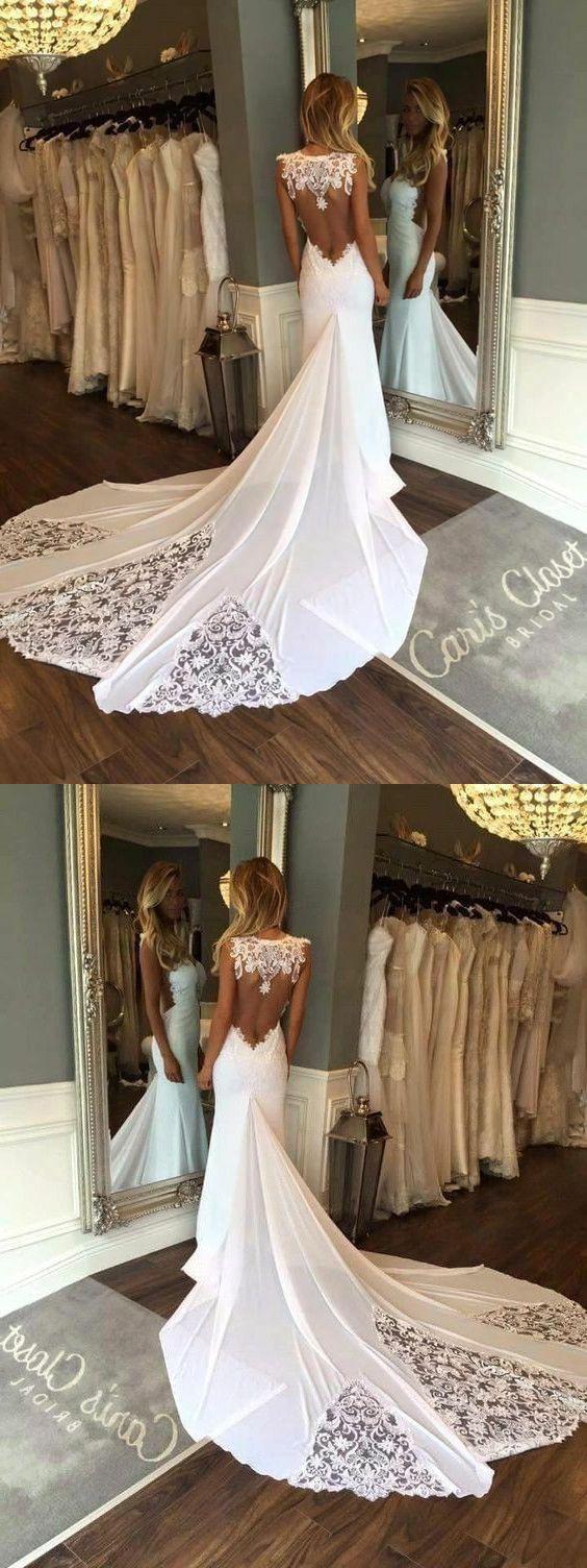 Eng Anliegende Illusion Hals Satin Hochzeitskleid Mit Spitze