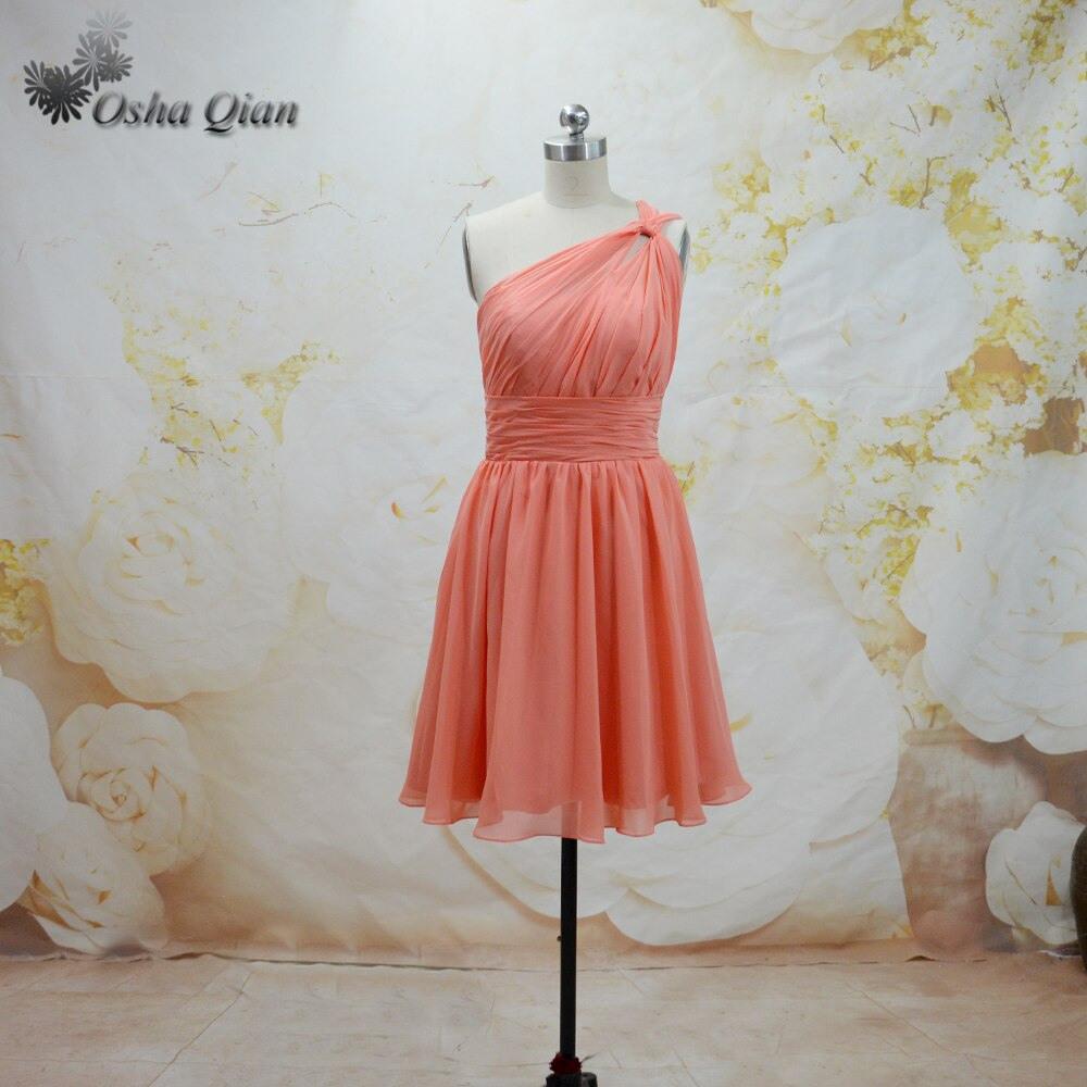Erwachsene Coral Brautjungfernkleider Chiffon Hochzeit Kleid