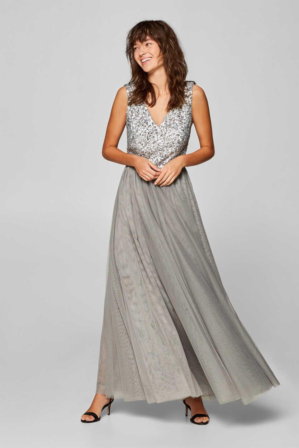 Esprit - Długa Sukienka Z Tiulu Z Cekinami W Górnej Partii