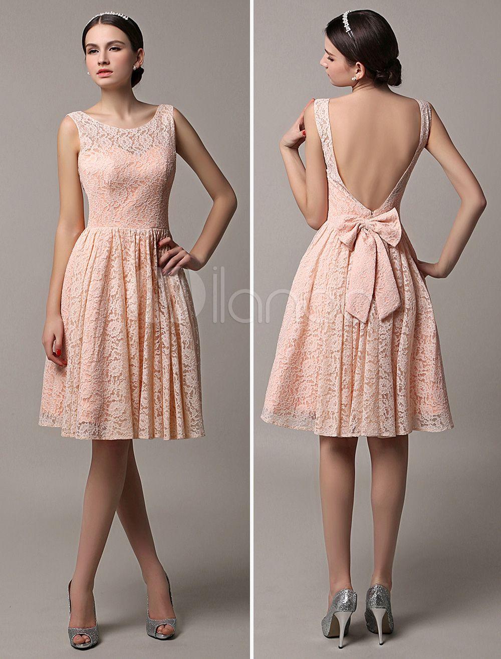 Etui-Brautjungfernkleid Kurz Aus Spitze In Rosa Kleider Für