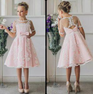 Fancy Pink Blumenmädchen Kleid Mit Applikationen Halbarm Knie Länge A-Linie  Kleid Mit Band Bögen Für Weihnachten Pageant Kleider 0-12 Jahre Alt