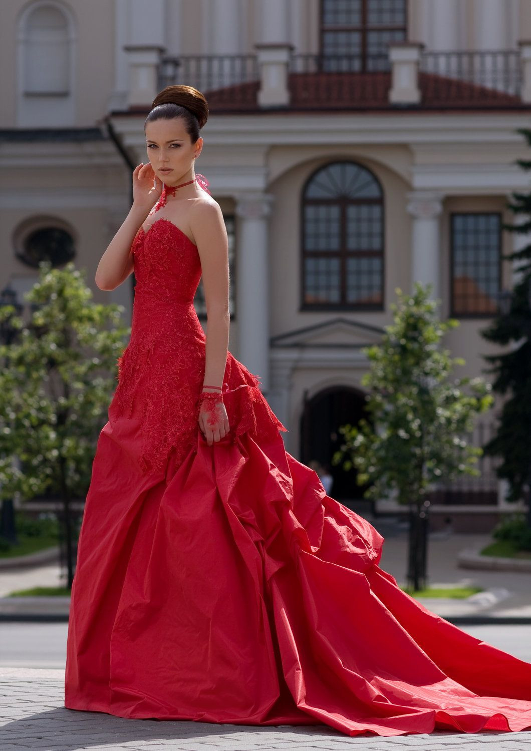 Fascinate Red Wedding Dress With Lace Andedelweissbride