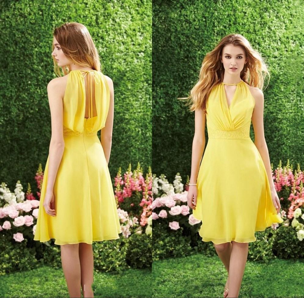 Fashion Gelb Modest Brautjungfer Kleider Short A Linie