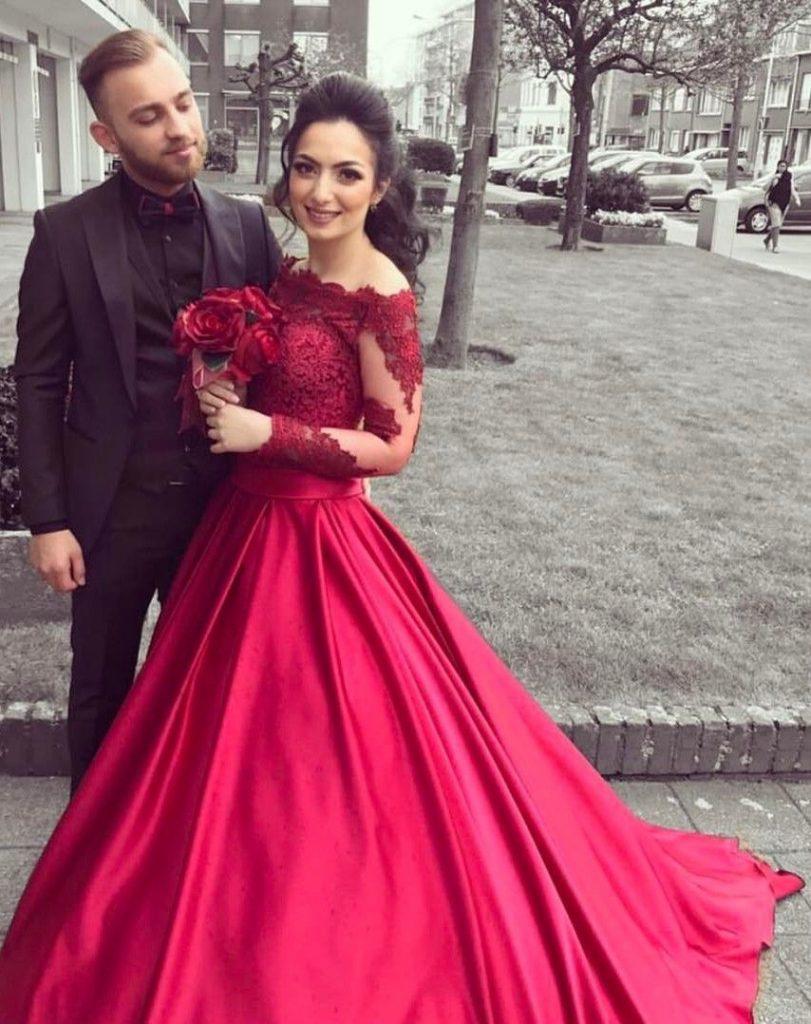 fashion rote brautkleider mit Ärmel spitze a linie - abendkleid