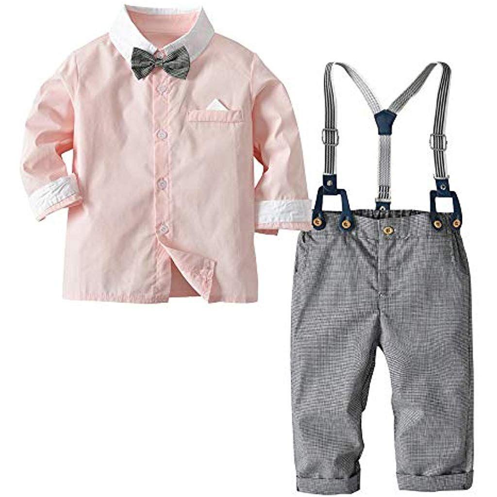 Feixiang Kleinkind Jungen Hemd Trägerhose Sets Baby Langarm