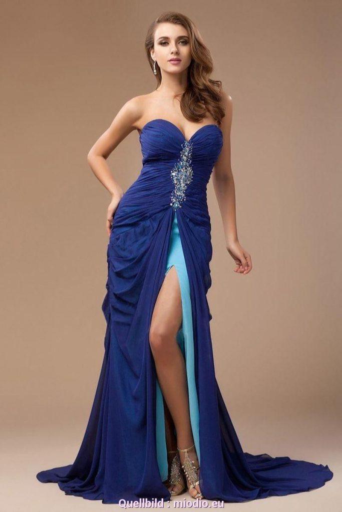 Festkleider Damen Blau - Abendkleid