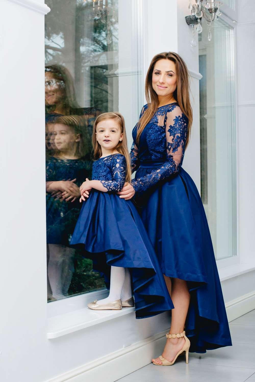 Festliche Mutter Tochter Kleider In Blau Mit Schleppe