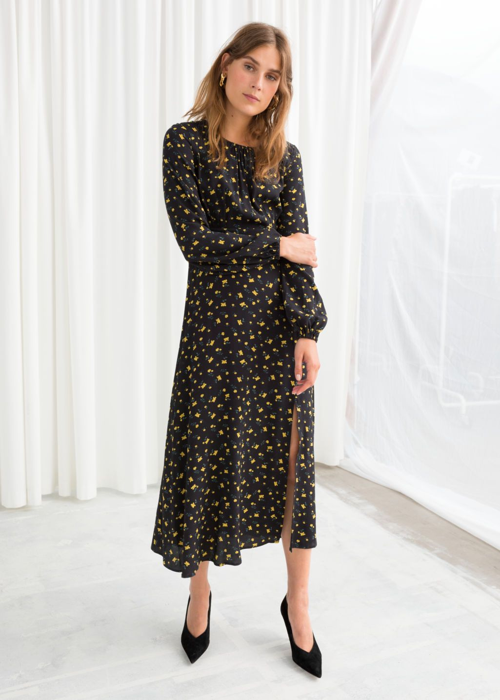 Floral Long Sleeve Midi Dress, Hochzeitsgast Outfit, Outfit