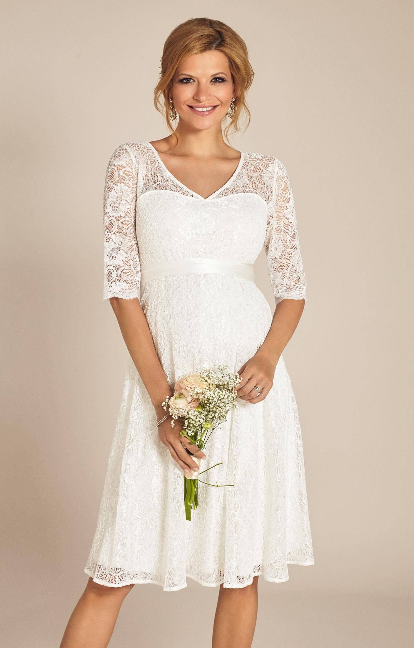 Flossie Umstands Hochzeitskleid Kurz (Elfenbein)