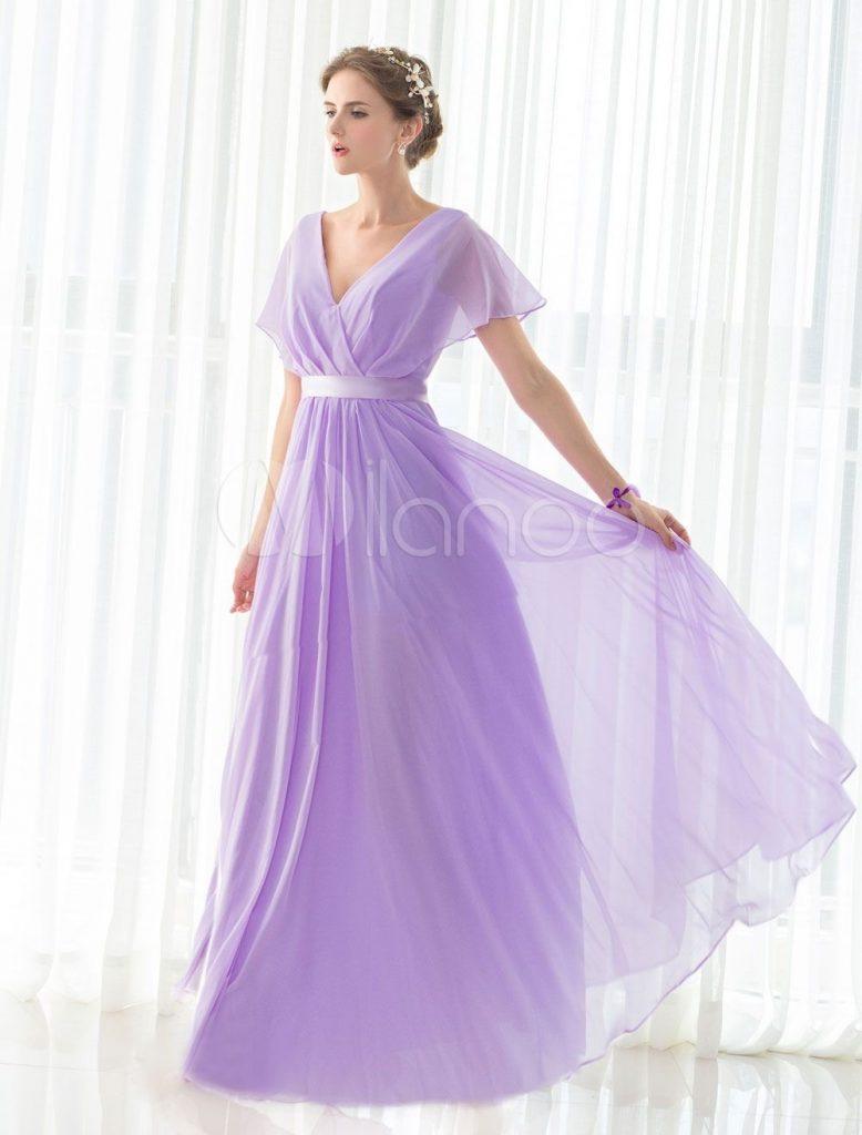 Formal Schön Kleid Flieder Hochzeit Ärmel - Abendkleid