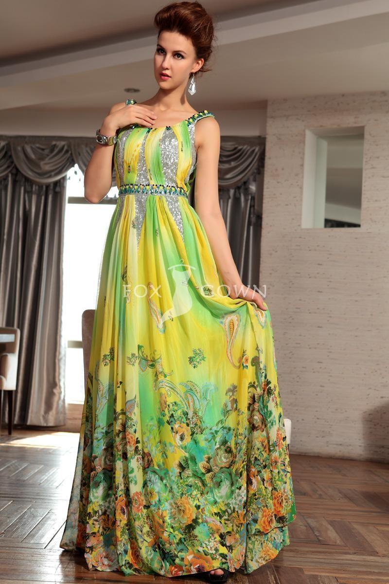Gelbe Bedruckte Chiffon A-Line Stock Länge Abendkleid Mit