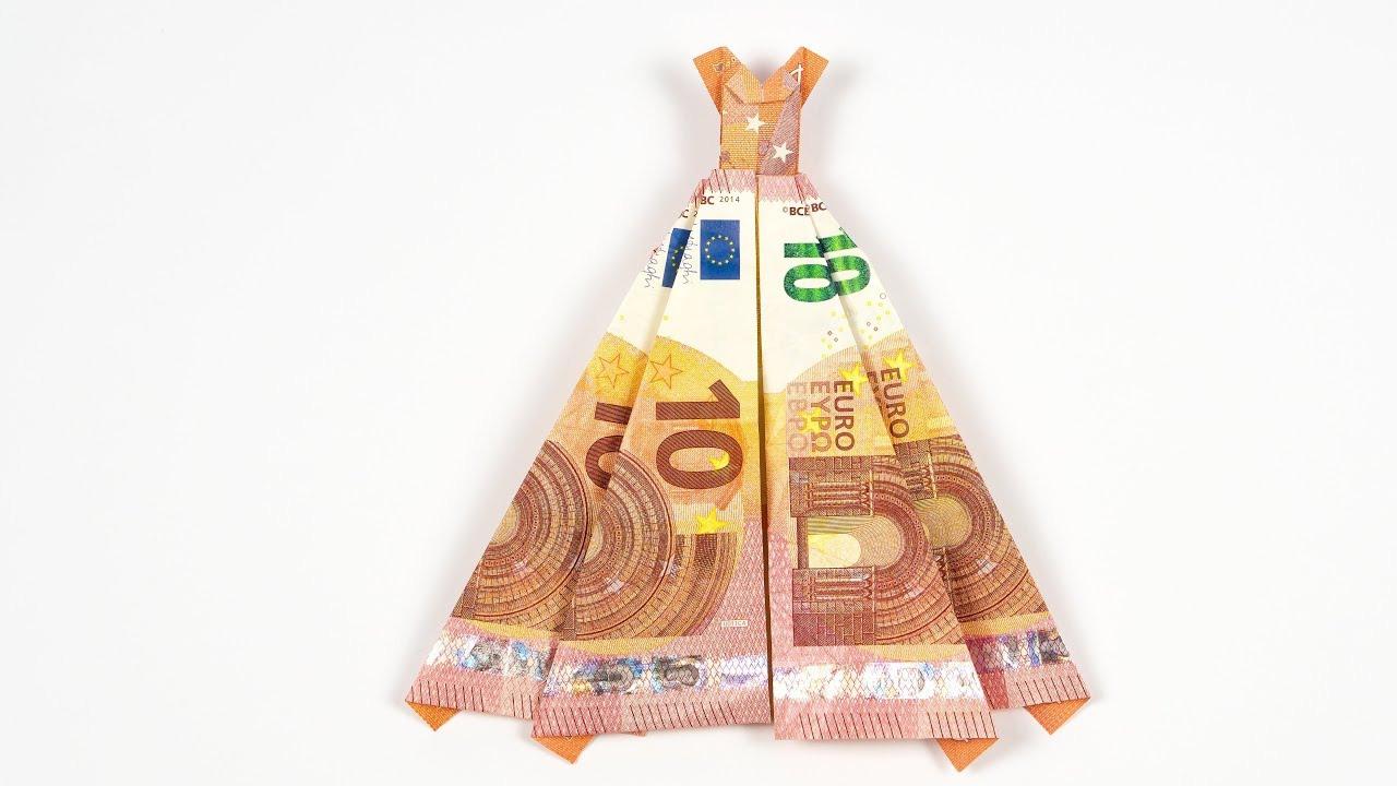 Geld Falten Kleid, Hochzeitsgeschenk Aus Geldschein Selber Basteln