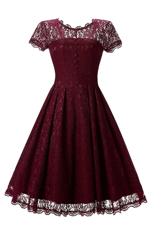 Gigileer Elegant Damen Kleider Spitzenkleid Cocktailkleid
