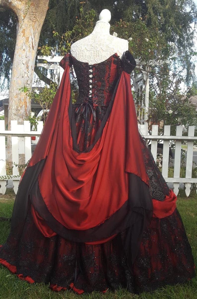 Gothic Hochzeit Belle Rot/schwarze Spitze Fantasy Kleid