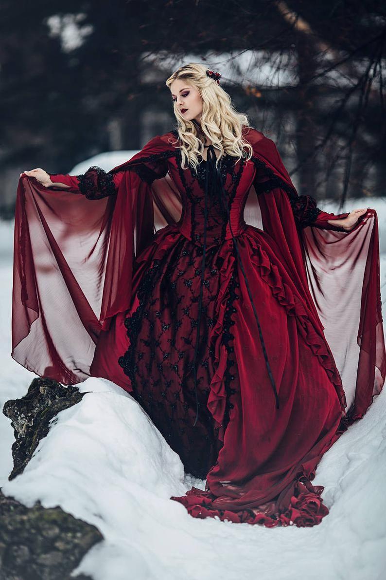 Gothic Winter Hochzeit Dornröschen Rot Und Schwarz Funkeln