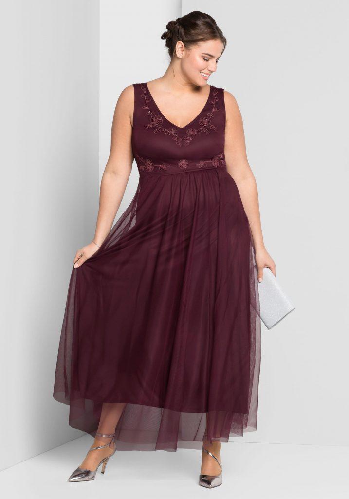 Große Größen: Abendkleid, Aubergine, Gr.44-58 - Abendkleid