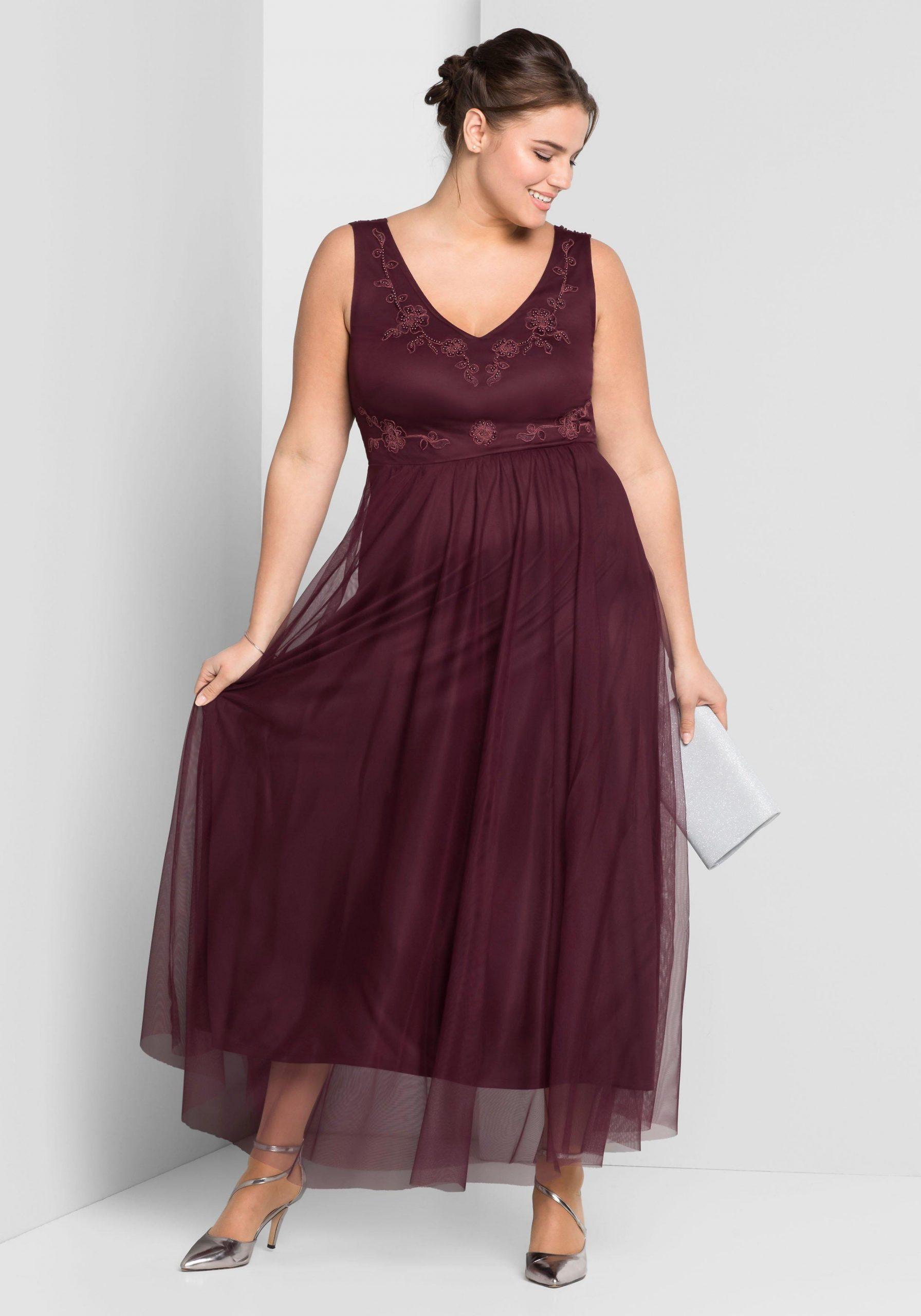 Große Größen: Abendkleid, Aubergine, Gr.44-58