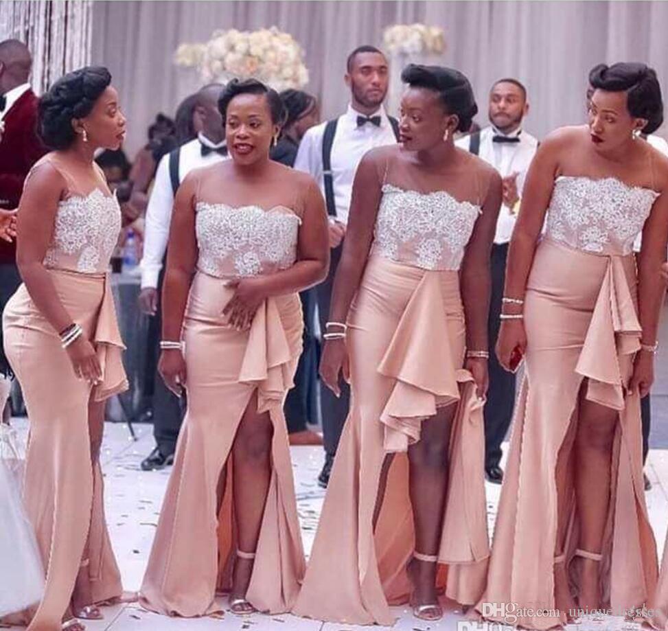 Großhandel 2018 Land Nigerianischen Brautjungfer Kleider Spitze  Meerjungfrau Trauzeugin Kleider Split Side Lange Hochzeit Gast Kleid Von