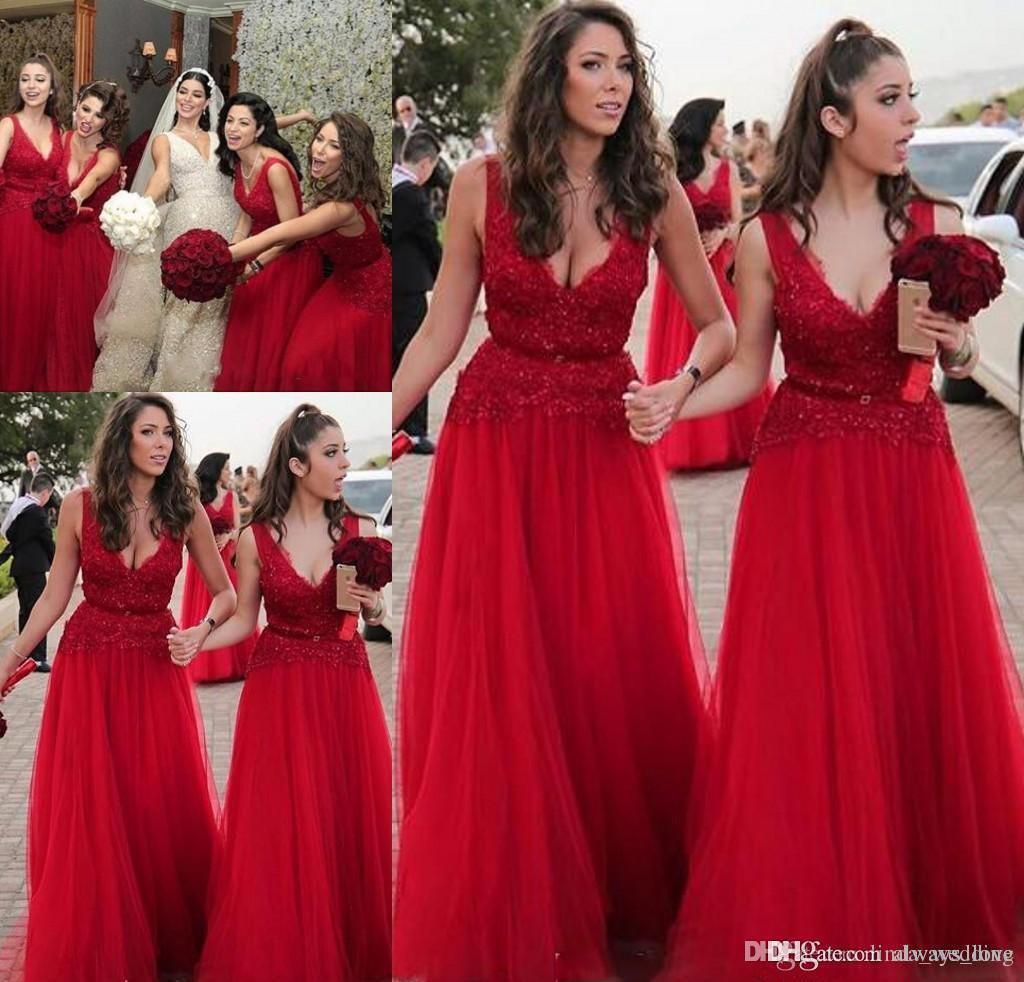 Großhandel 2019 Auf Lager Rot Lange Brautjungfer Kleid V Ausschnitt Sommer  Land Garten Hochzeit Gast Trauzeugin Kleid Plus Größe Nach Maß Von