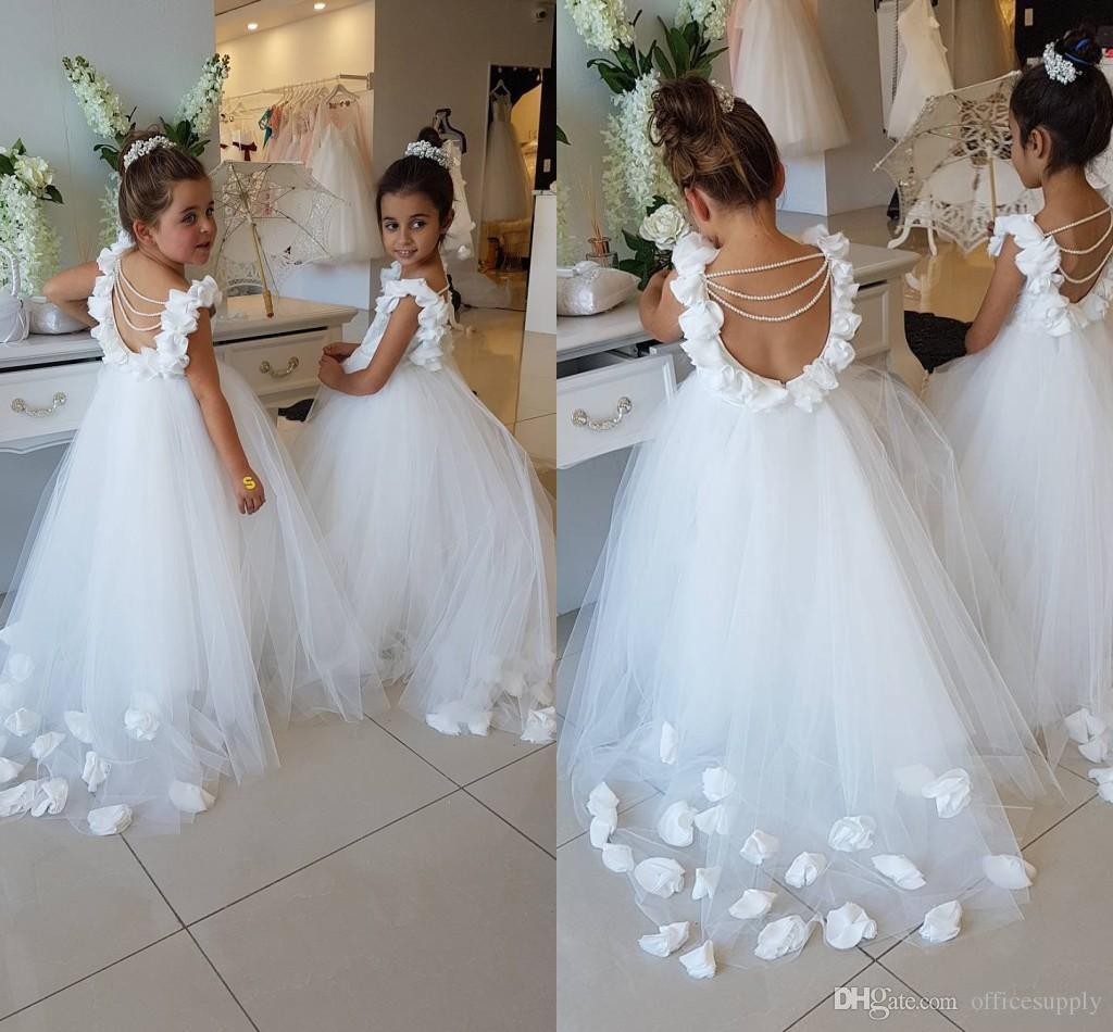 Großhandel 2019 Blume Mädchen Kleider Für Hochzeiten Scoop Rüschen Spitze  Tüll Perlen Backless Prinzessin Kinder Hochzeit Geburtstag Party Kleider  Von