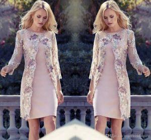 Großhandel 2019 Elegante Knielangen Mutter Der Braut Kleider Mit Spitze  Jacke Blumen Hochzeit Gast Kleider Mutter Kleider Formale Abendkleider Von