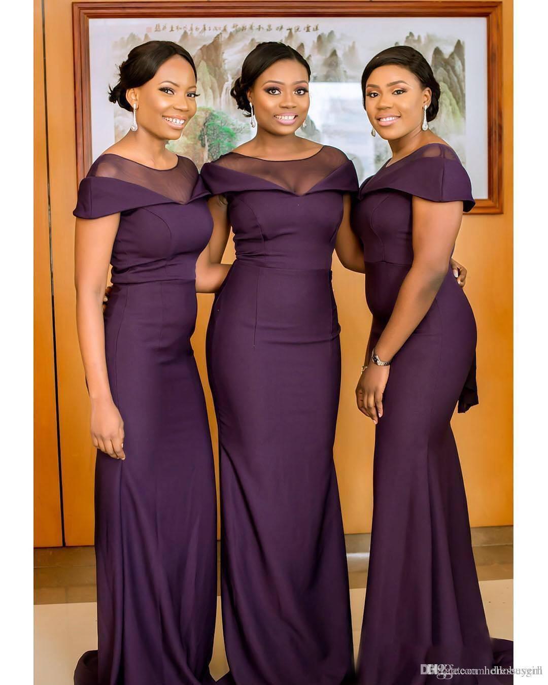 Großhandel 2019 Günstige Südafrikanische Elegante Sheer Neck Lila  Meerjungfrau Brautjungfernkleider Lange Trauzeugin Kleid Hochzeitsgast  Kleid Von