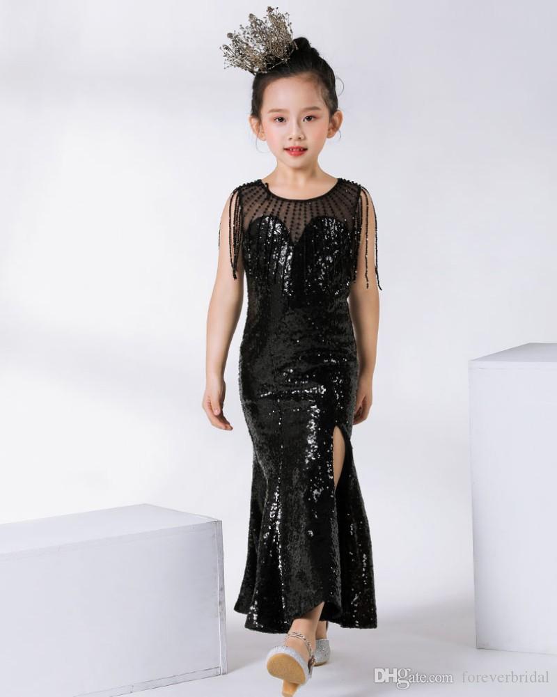 Großhandel 2019 Nette Kinder Formelle Kleidung Schwarz Pailletten Blume  Mädchen Kleider Für Hochzeit Kinder Pageant Kleider Ballkleid Von