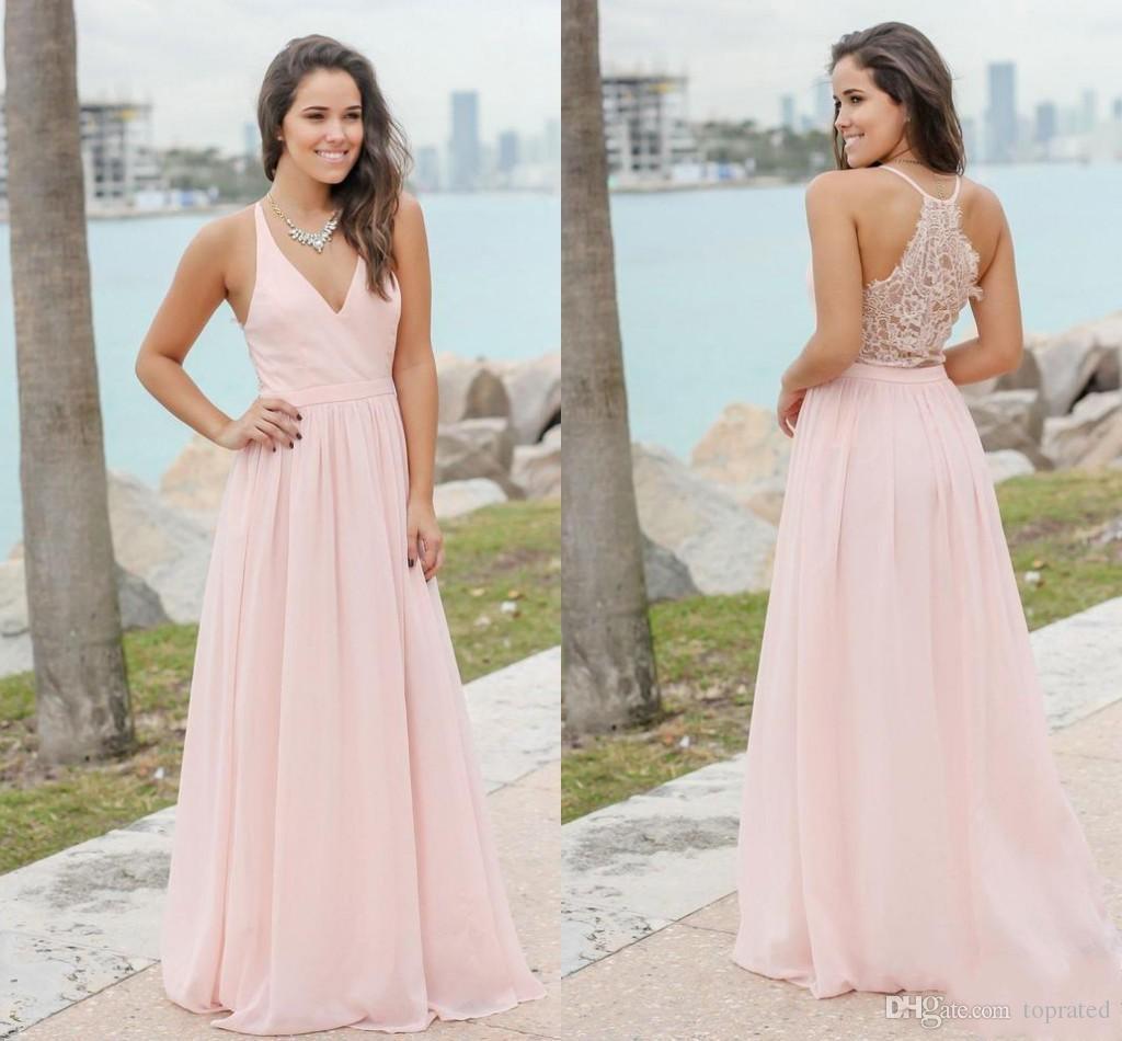 Großhandel 2019 Rosa Neue Designer Günstige Land Brautjungfernkleider V  Ausschnitt Spitze Chiffon Formale Trauzeugin Kleider Hochzeit Party Kleider
