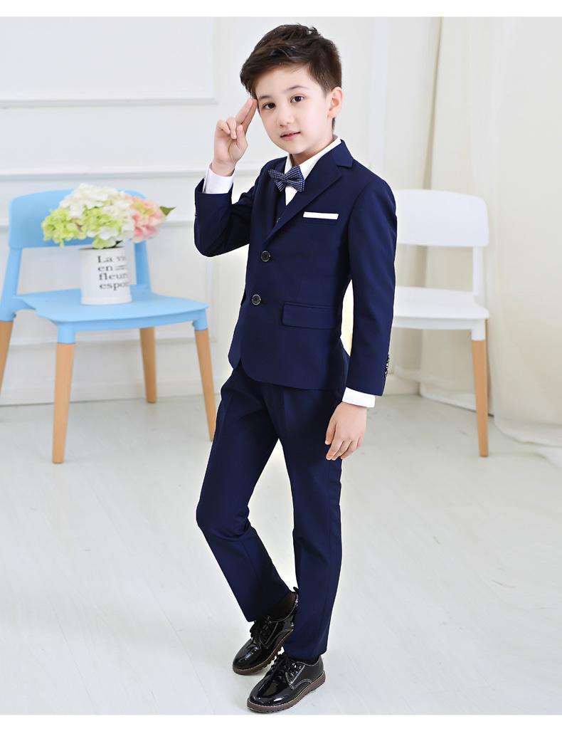 Großhandel 5 Teile / Satz Baby Kinder Jungen Blazer Anzug Für Hochzeit  Childern Jungen Kleid Kleidung Formale Blaue Gitter Prom Kommunion Party  Anzüge